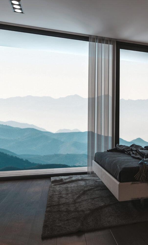 Chambre d'hôtel avec vue sur la montagne